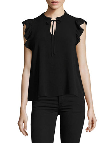 Highline Collective Ruffle-Trimmed Blouse-BLACK-Large