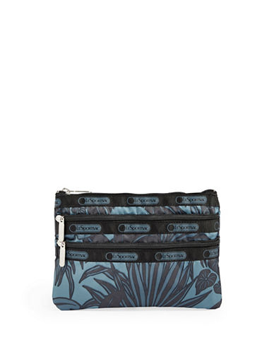 Lesportsac Three-Zip Cosmetic Pouch-MIDNIGHT GREEN-One Size