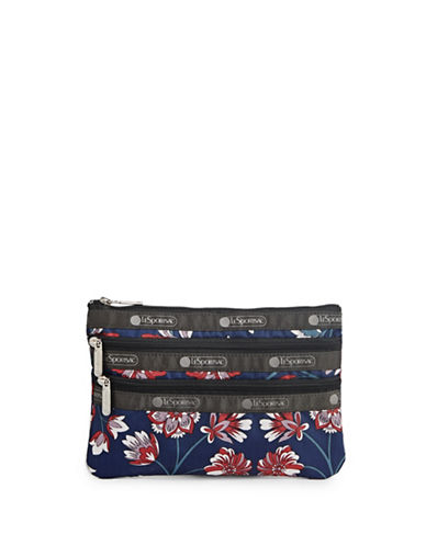 Lesportsac Three-Zip Cosmetic Pouch-BLUE FLOWER-One Size