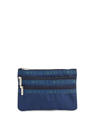 Lesportsac Three-Zip Cosmetic Pouch-BLUE-One Size