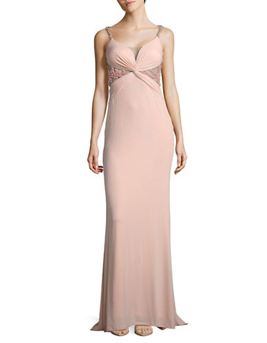 Glamour By Terani Twisted Drape Dress-BLUSH-12