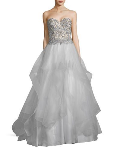 Glamour By Terani Strapless Beaded Ball Gown-SILVER-0