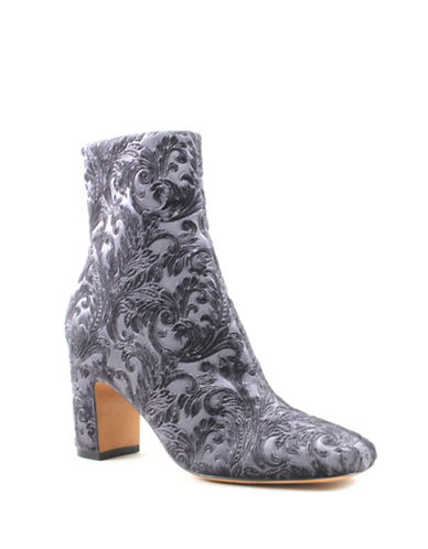 Marc Fisher Ltd Grazi Velvet Booties-GREY-5.5