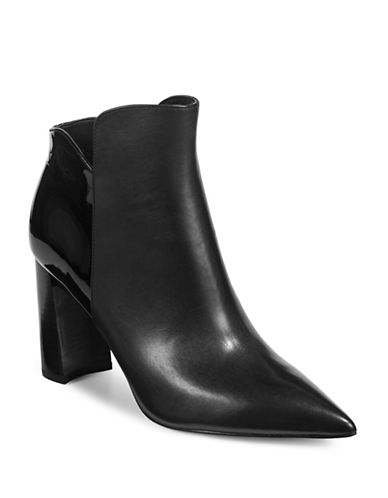 Marc Fisher Ltd Leather Patent-Accent Ankle Boots-BLACK-6.5