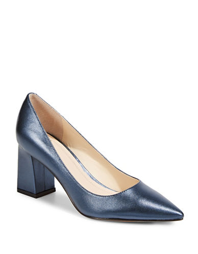 Marc Fisher Ltd Zala Leather Block Heels-DARK BLUE-8