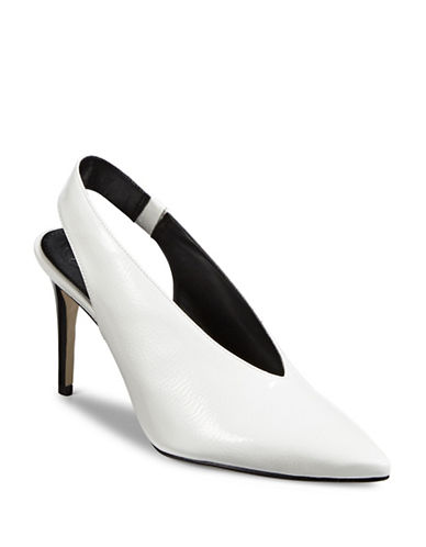 Guess Babyblu Leather Slingback Pumps-WHITE-6