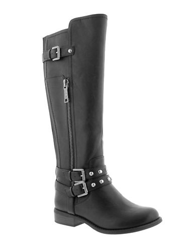 G By Guess Hansley Faux Leather Knee-High Boots-BLACK-6.5