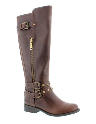 G By Guess Hansley Faux Leather Knee-High Boots-BROWN-8.5