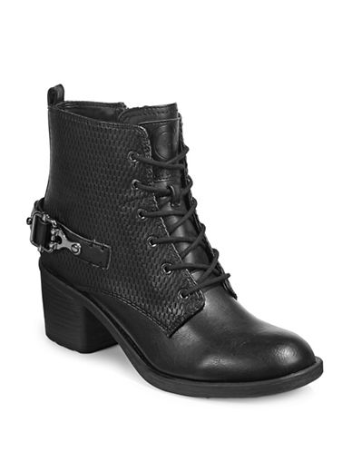 G By Guess Lonnie Buckled Lace-Up Ankle Boots-BLACK-8.5