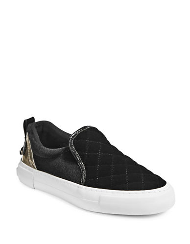 G By Guess Womens Quilted Velvet Slip-On Sneakers-BLACK-8