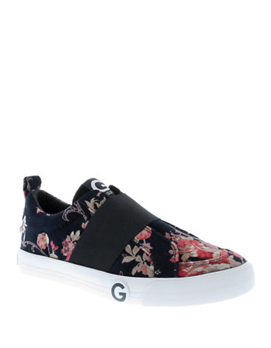 G By Guess Ohlay2 Floral Velvet Slip-On Sneakers-NAVY/FLORAL-8.5