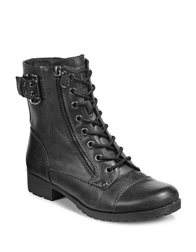 G By Guess Womens Brella Combat Boots-BLACK-5.5
