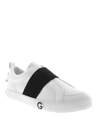 G By Guess Elastic Strap Leather Sneakers-WHITE-9