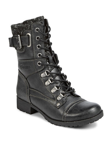 G By Guess Knit Cuff Combat Boots-BLACK-9