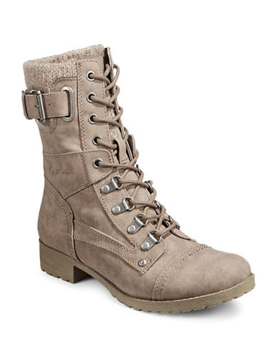G By Guess Knit Cuff Combat Boots-BEIGE-7.5
