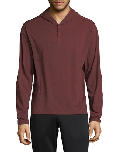 Columbia Long Sleeve Hooded Shirt-RED-Medium