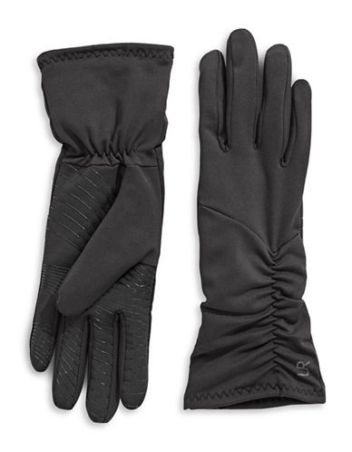 Ur Powered Faux Fur Ruched Stretch Gloves-BLACK-S/M