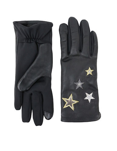 Lord & Taylor Embroidered Star Gloves-BLACK-Large/XLarge
