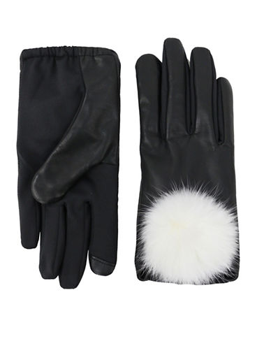 Lord & Taylor Rabbit Fur Pom Gloves-BLACK-Large/XLarge