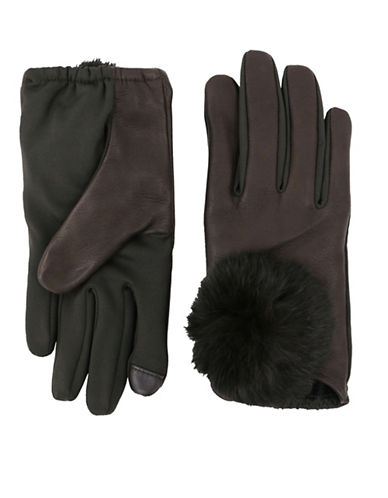 Lord & Taylor Rabbit Fur Pom Gloves-BROWN-Small/Medium