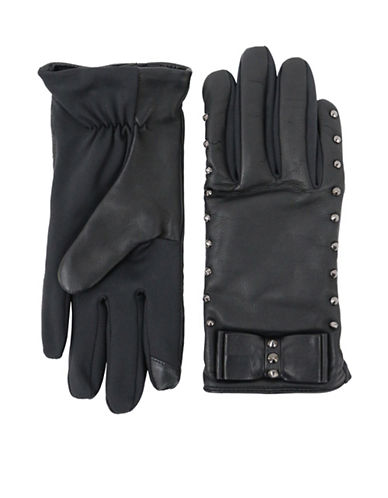 Lord & Taylor Studded Bow Leather Gloves-BLACK-Large/XLarge