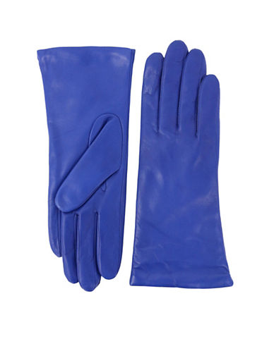 Lord & Taylor Three-Button Leather Gloves-BLUE-6.5