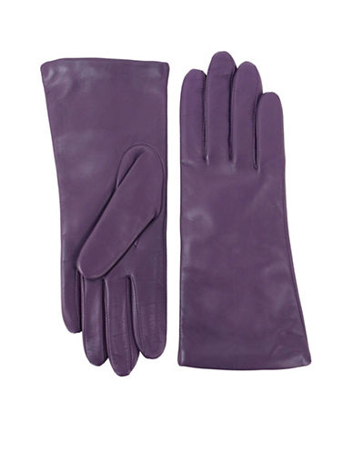 Lord & Taylor Three-Button Leather Gloves-PURPLE-8.5