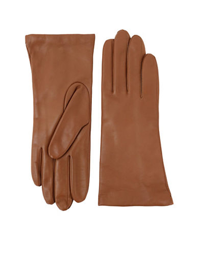 Lord & Taylor Three-Button Leather Gloves-LIGHT BROWN-6