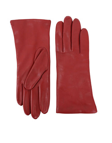 Lord & Taylor Three-Button Leather Gloves-CHERRY-6
