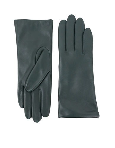 Lord & Taylor Three-Button Leather Gloves-GREEN-7.5