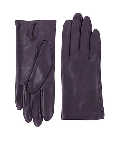 Lord & Taylor Two-Button Leather Gloves-PURPLE-8