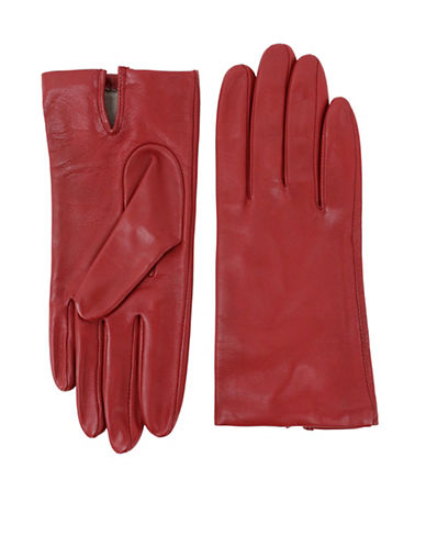Lord & Taylor Two-Button Leather Gloves-CHERRY-8