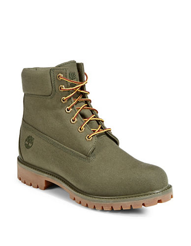 Timberland Lace-Up Platform Boots-DARK GREEN-8.5