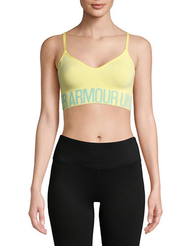 Under Armour Armour Seamless Streaky Heather Sports Bra-YELLOW-Medium 89983013_YELLOW_Medium