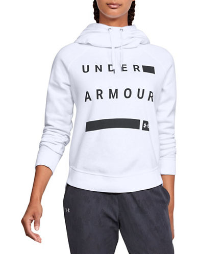 Under Armour Favourite Fleece Pullover Graphic Hoodie-WHITE-Large