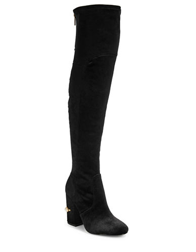 Ivanka Trump Velvet Round Toe Boots-BLACK-10