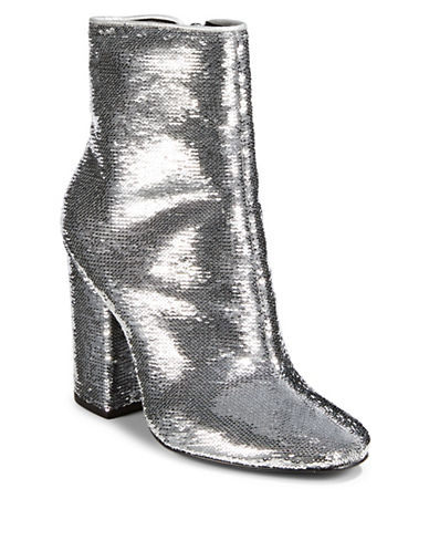 Kendall + Kylie Haedyn Sequined Booties-SILVER-5