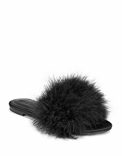 Kendall + Kylie Chloe 2 Feather Slides-BLACK-6