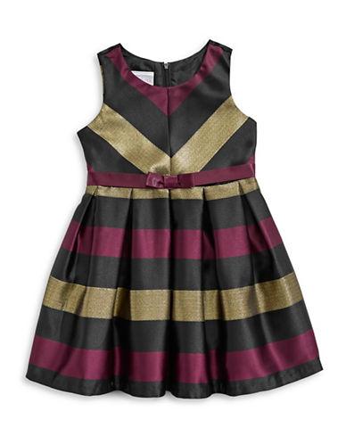 Iris & Ivy Striped Taffeta Fit-and-Flare Dress-BURGUNDY-2T