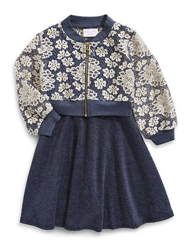 Iris & Ivy Floral Dress-BLUE-3T