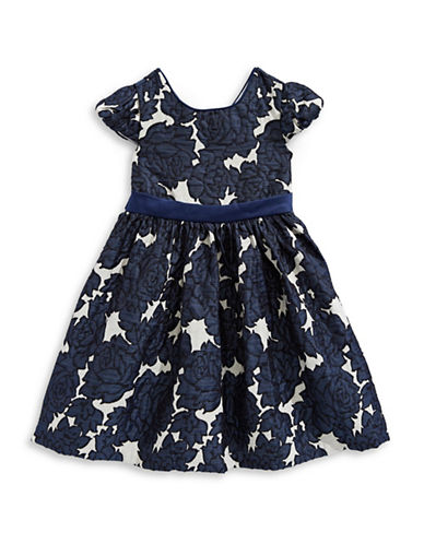 Iris & Ivy Woven Floral Cap-Sleeve Dress-NAVY-6X