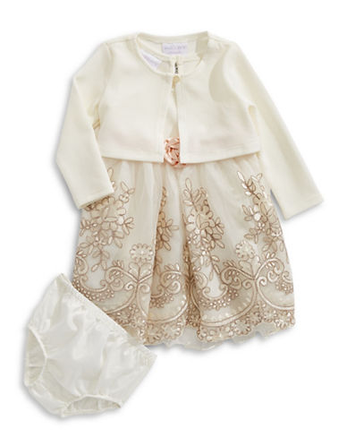 Iris & Ivy Embroidered Dress with Shrug-IVORY-18 Months