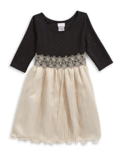 Iris & Ivy Embellished Pleated Dress-GOLD-8