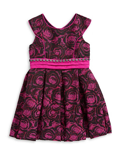 Iris & Ivy Floral Fit-and-Flare Dress-PURPLE-4T