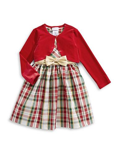 Iris & Ivy Two-Piece Taffeta Cardigan and Plaid Dress Set-RED-6