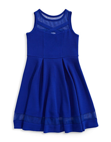 Iris & Ivy Mesh Cutout Dress-BLUE-12