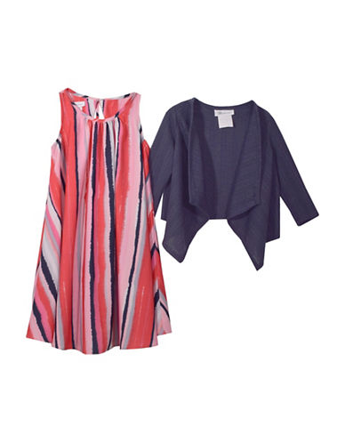 Iris & Ivy Two-Piece Printed Dress and Cable-Knit Cardigan Set-PINK-3T