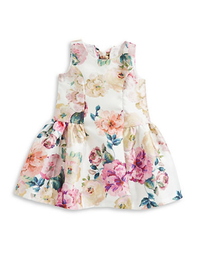 Iris & Ivy Bow Floral Pleated Dress-BEIGE-5