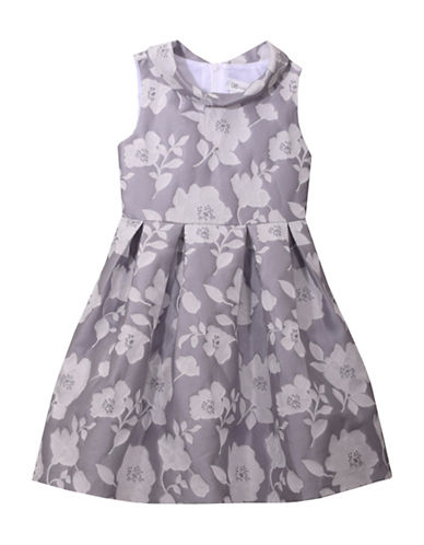 Iris & Ivy Floral Fit-&-Flare Dress-GREY-14