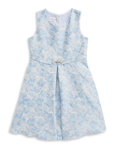Iris & Ivy Metallic Floral Jacquard Dress-BLUE-7